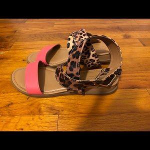 Coral / leopard print wrap sandals